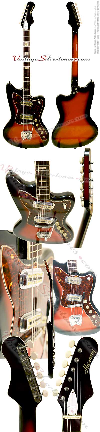 Harmony H19 Silhouette, 2 single coil pickup electric guitar solid body Cherry Redburst, made in Chicago Harmony Holy Grail model circa 1965
