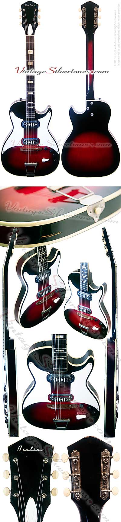 Airline - Stratotone - two pickup, cherry redburst, hollow body electric guitar made in Chicago IL USA circa 1964