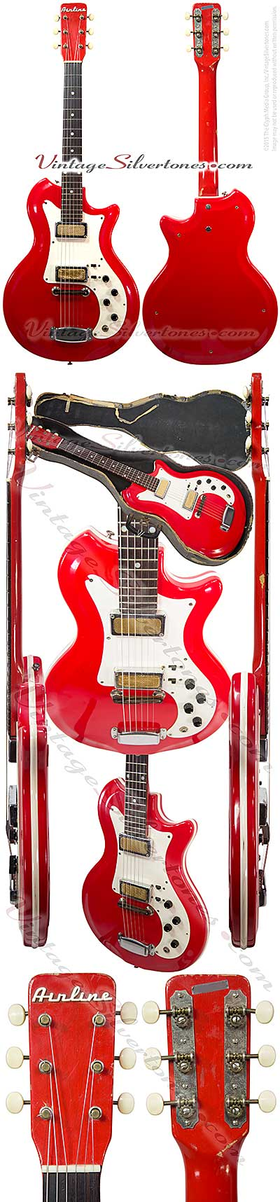 Airline 7270 semi-hollow body electric guitar 2 gold foil pickups, red finish, made by National, Supro, Valco in Chicago 1965, res-o-glass