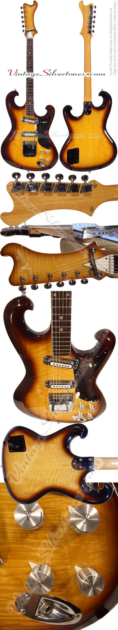 Avalon AV-27, 2 pickup electric guitar solid body tobaccoburst, made in Japan - The Shaggs model circa 1968