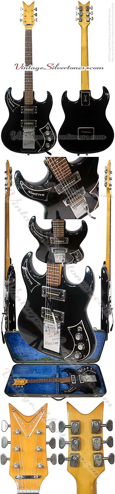 Baldwin Burn Baby Bison solid body electric guitar with Rezo-tube whammy bar, double cutaway 2 pu, single coil, double coil stack, black 1965