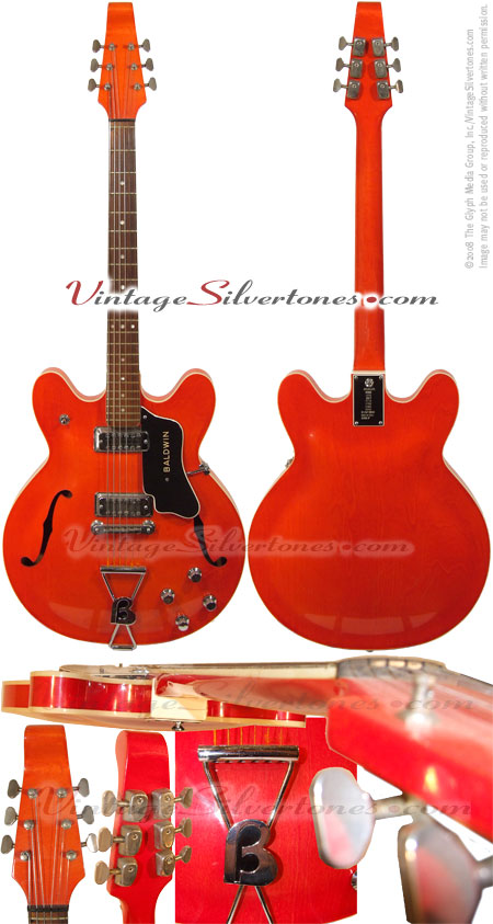 BURNS-BALDWIN Model 706 ES-335 style semi-hollow body translucent red finish, made in Italy assembled in the US