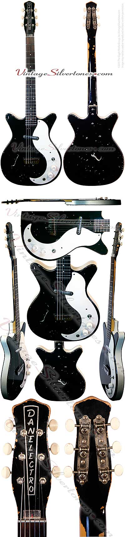 Danelectro 3011, 1 pickup electric guitar semi-solid body black finsh white pickguard, binding, made in Neptune, NJ 1960