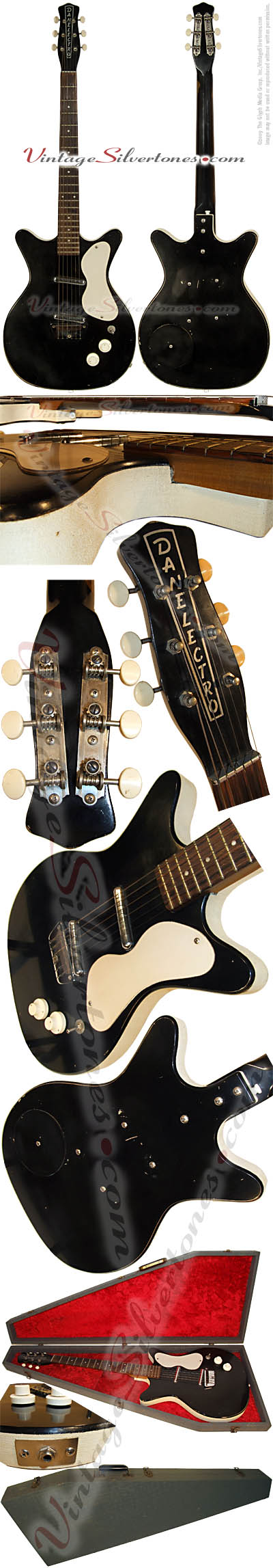 Danelectro Standard 3021, semi-hollow body, electric guitar with 2 pickups in black 1959