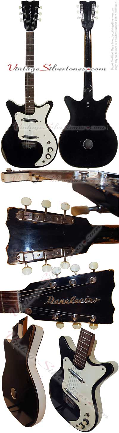 Danelectro Hand Vibrato 4021, semi-hollow body, electric guitar with 2 pickups in black circa 1964
