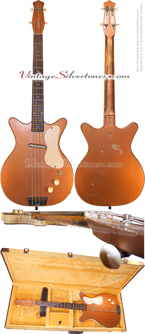 Danelectro Shorthorn Bass, hollow body, electric bass guitar with 1 pickups model 3412 in bronze