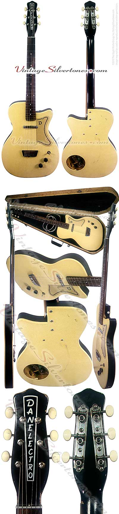 Danelectro U1 - single pickup ivory leatherette electric guitar 1956