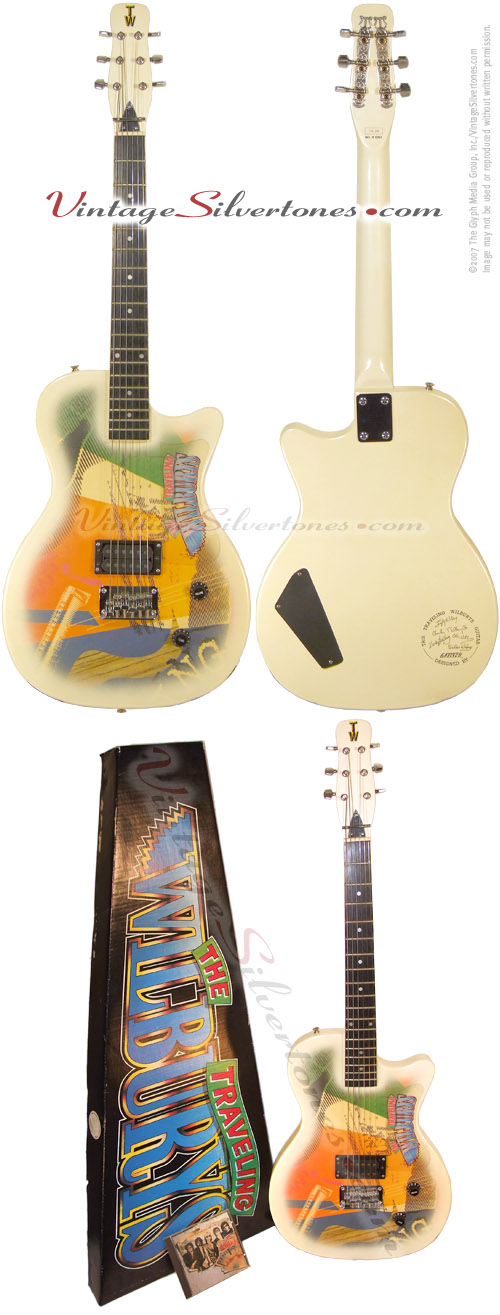 Gretsch Traveling Wilburys TW-200 electric guitar, 1 pu, white sparkle, circa 1988 - original box and CD