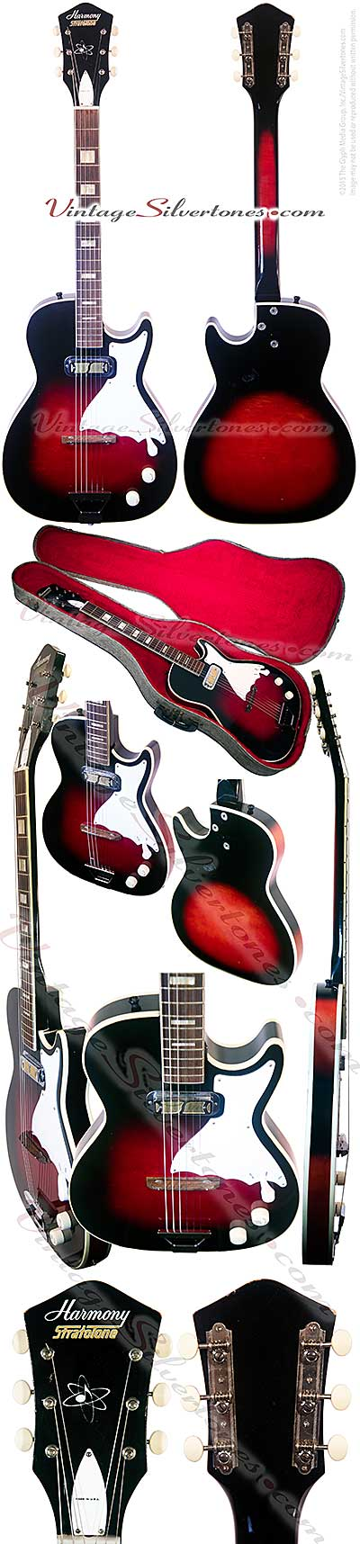 Harmony H47 - Stratotone - one pickup, redburst, hollow body electric guitar made in Chicago IL USA circa 1961