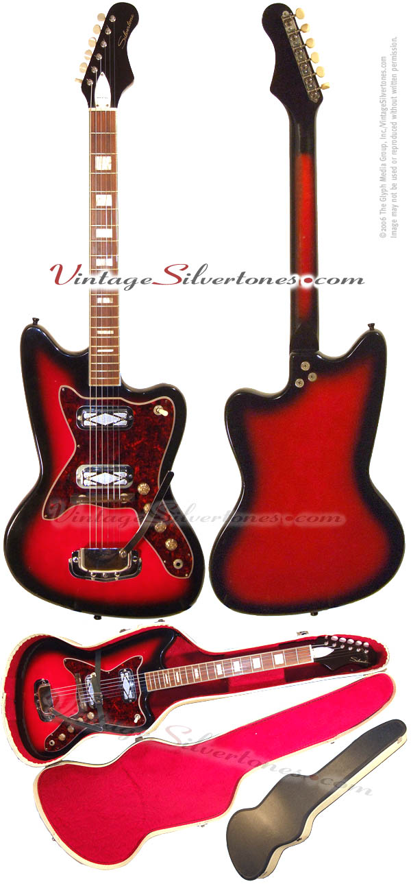 Silvertone -Harmony-made - 1478 solid body electric guitar with whammy bar circa 1965