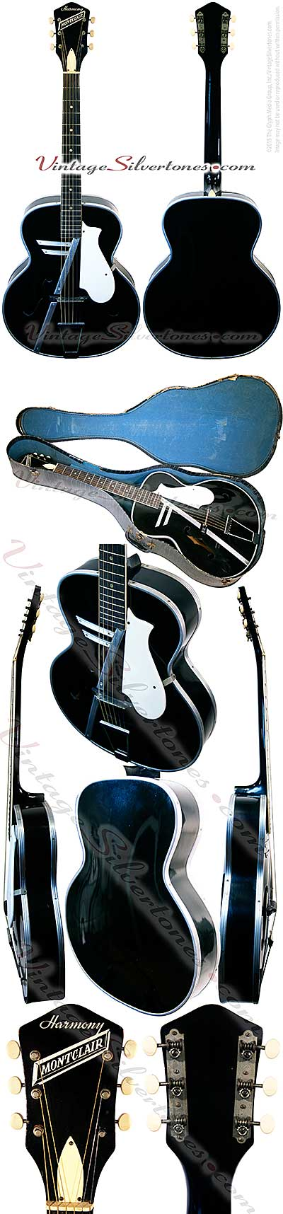 Harmony H956S Montclair made by Harmony in Chicago, acoustic guitar, archtop, black finish, harmometal binding, birch top,made in 1957