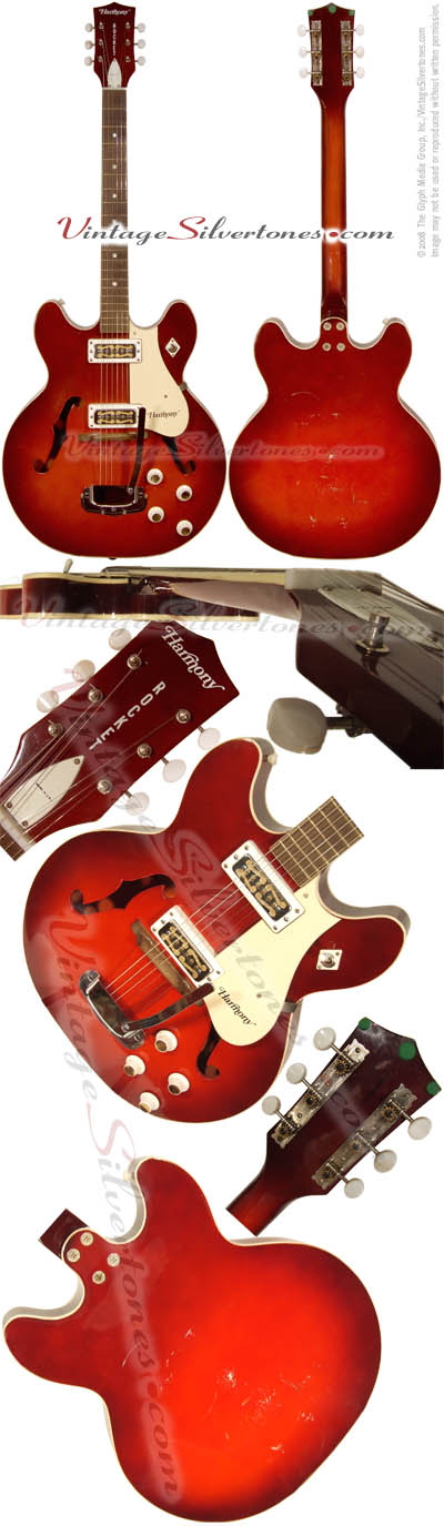 Harmony Rocket H56/1 two pickup cherry red burst, hollow body, DeArmond pickups, whammy bar/tremolo, made in Chicago, IL USA
