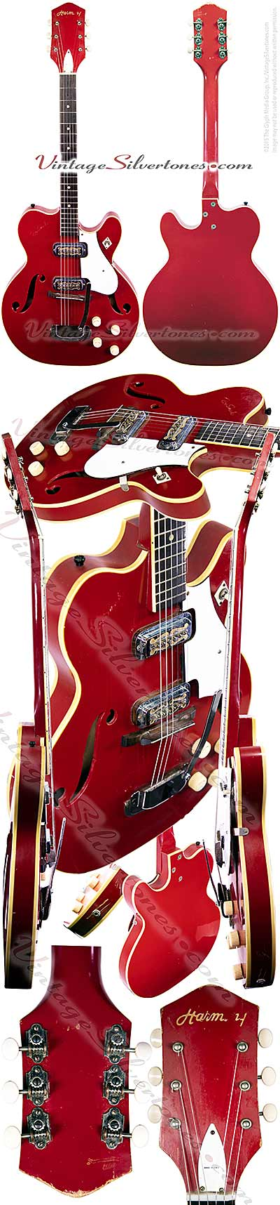 Harmony H73 made by Harmony in Chicago, two pickup, electric guitar, hollow body, manderin red white binding, maple body, made in 1966