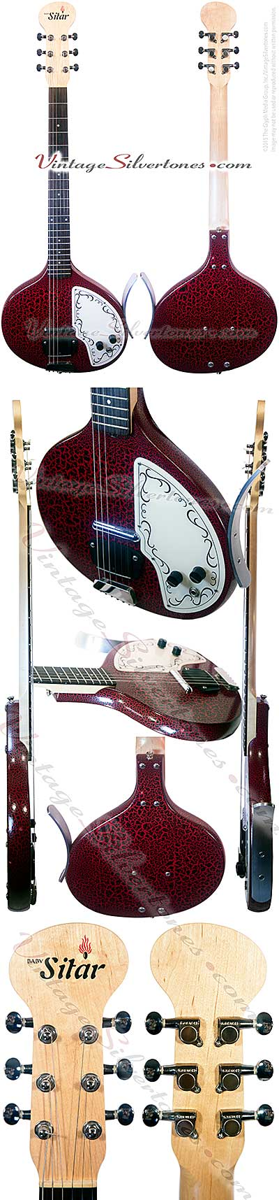 Jery Jones, baby sitar, red gator finish, 1 lipstick tube pickup, circa 1990