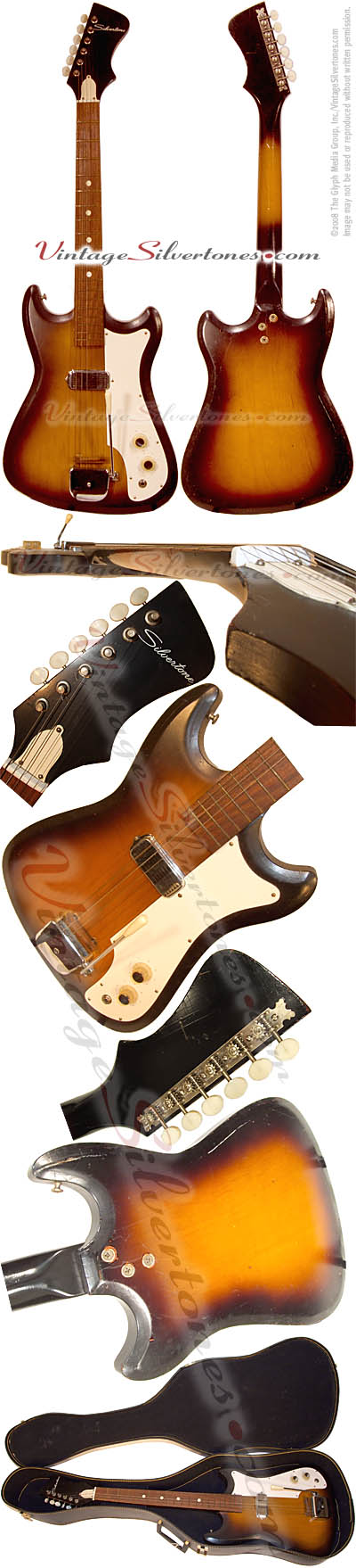 Silvertone 1416, solid body, electric guitar with 1 pickup, walnut sunburst made by Kay of Chicago, IL 1965