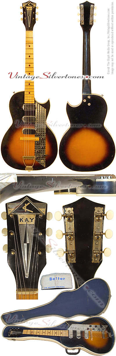 Kay model 1963 three pickups, tobaccoburst, semi-hollow body, electric guitar 1961 made in Chicago, IL USA