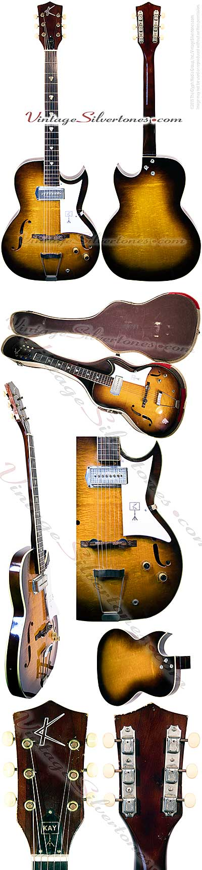 Kay Galaxie, 1 Barney Kessel pu, tobaccoburst, single cutaway, Chicago 1961