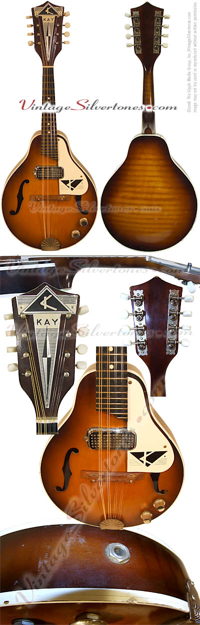 Kay model K495 one pickup, tobaccoburst, hollow body, electric mandolin 1968 made in Chicago, IL USA