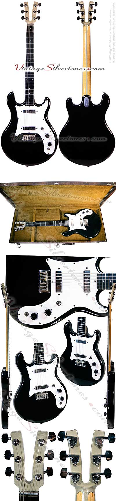 Kramer 250g-Neptune, NJ 2 pickup, electric guitar, 1977, black, white pickguard, double cutaway