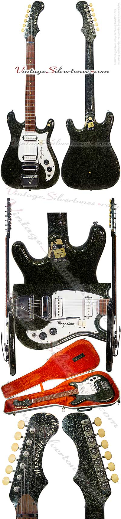 Magnatone x-5 Zephyr made in California, 1963 black sparkle, 2 pickups, double cutaway, Barthe