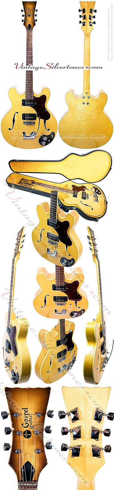 Mosrite Gospel, blond natural finish, 2pu, double cutaway, hollow body, Mosrite tailpiece, 1967, California