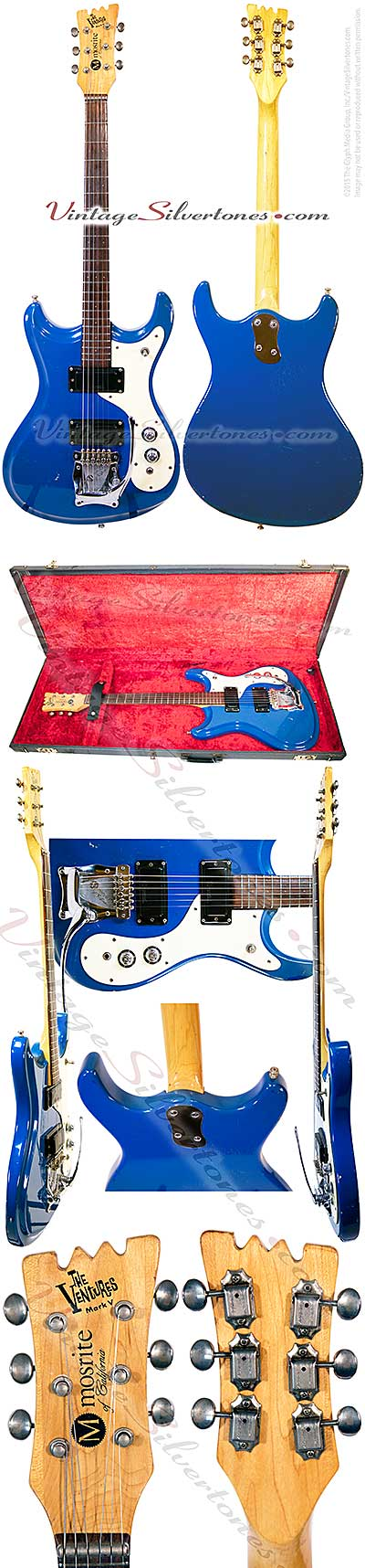 Mosrite Ventures Mark V, blue, 2pu, double cutaway, solid body, Mosrite tailpiece, 1966, California