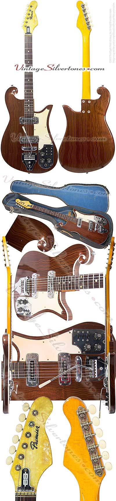 Multivox Premier, scroll, burl walnut finish, double pickup, electric guitar, solid body, ivoroid binding, made in 1966