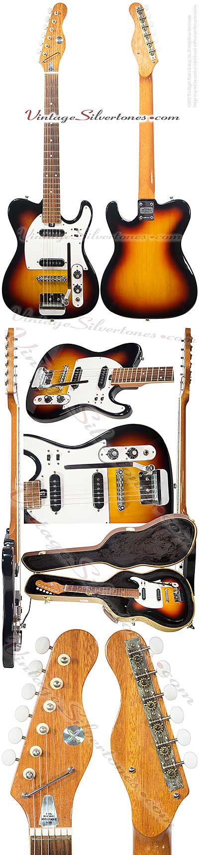 Sears 1413 made in Japan, 1972 red sunburst, 2 pickups, single cutaway, tele-style