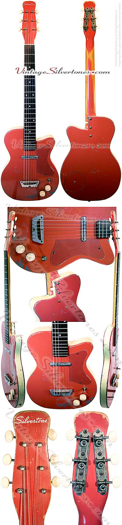 Silvertone 1358 made by Danelectro U1, one pickup, electric guitar, semi-hollow body, coral finish white vinyl binding, masonite body, lipstick pickup, made in 1955