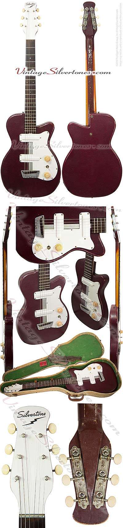 Silvertone 1377 Danelectro, made in NJ, early, maroon artificial leather, 2 pickups, single cutaway 1955