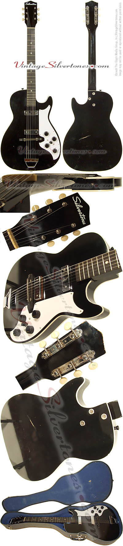 Silvertone 1420L - Harmony Stratotone - 2 pickup, black hollow body electric guitar made in Chicago IL USA 1962 - B-11/2008