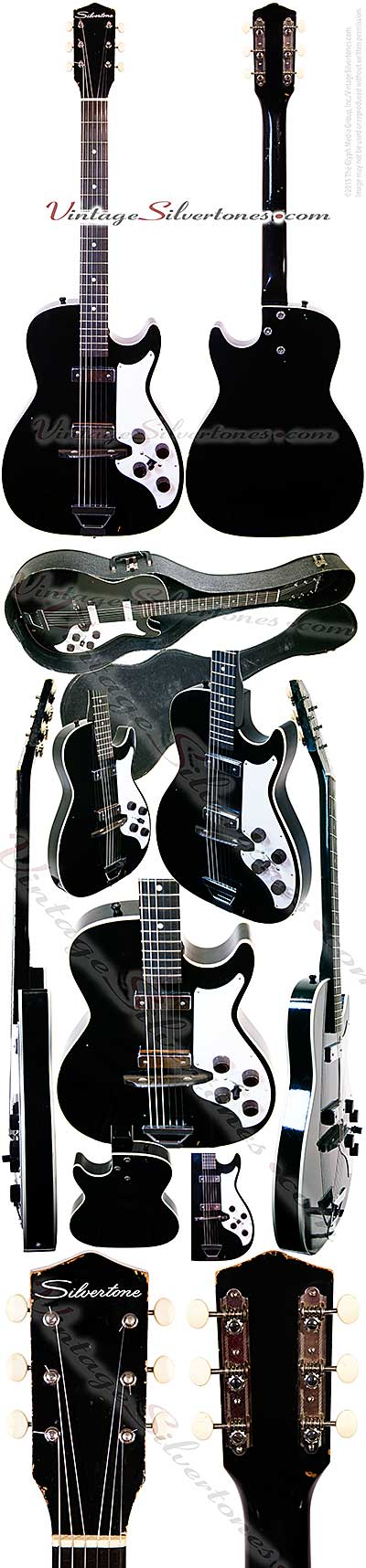 Silvertone 1420L - Harmony Stratotone - 2 pickup, black hollow body electric guitar made in Chicago IL USA circa 1961