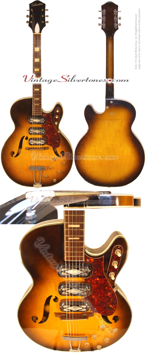 Silvertone-Harmony #1429L - 3 pickup tobaccoburst finish semi-hollow body electric guitar 1959