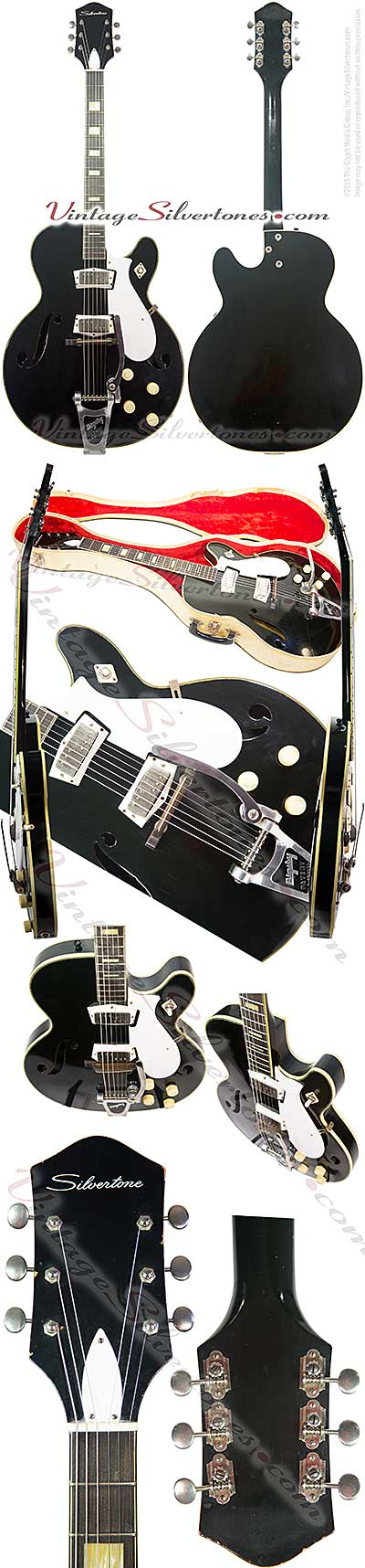 Silvertone 1446L made by Harmony of Chicago, two mini P90 pickups, electric guitar, semi-hollow body, black finish, white pickguard, made in 1965
