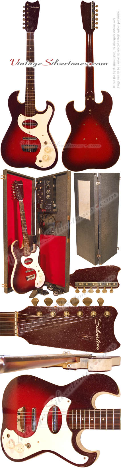 Silvertone 1457-Danelectro-made 2 pickup, electric guitar amp in case, 1964, red burst