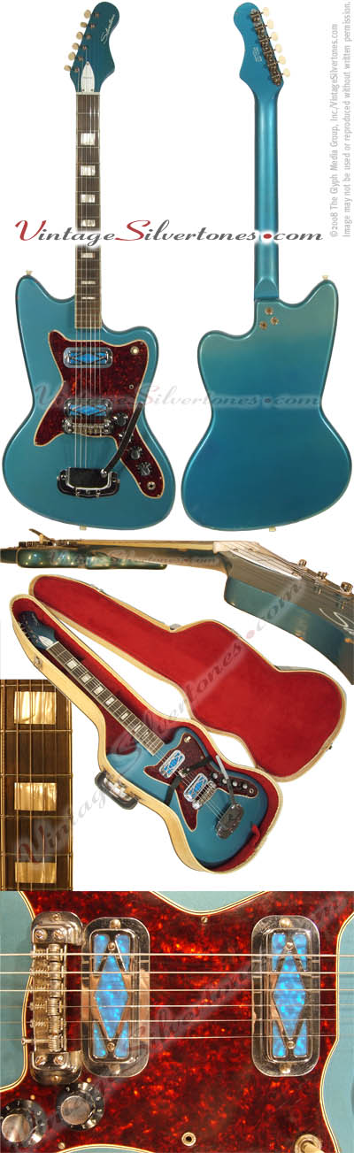 Silvertone 14788- Harmony-made solid body, 2 pickup, blue electric guitar in sunburst with blue prickups made cirac 1967, made in Chicago IL USA