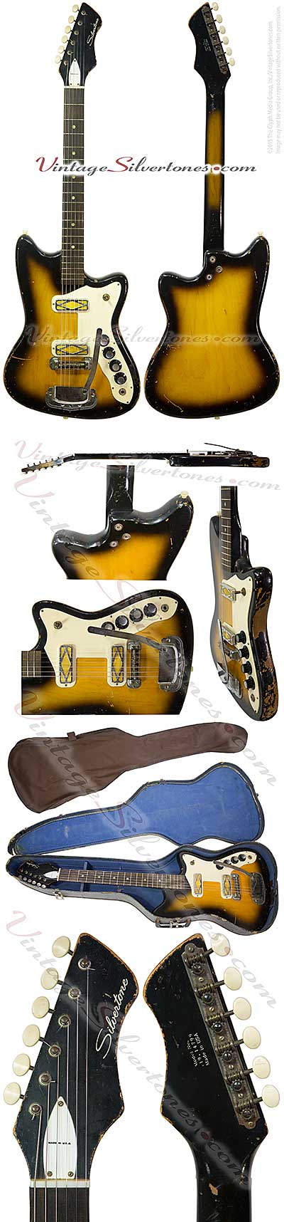 Silvertone -Harmony-made - 1479 solid body electric guitar with 1750 whammy bar double cutaway, tobaccoburst, 2 gold pickups made 1967