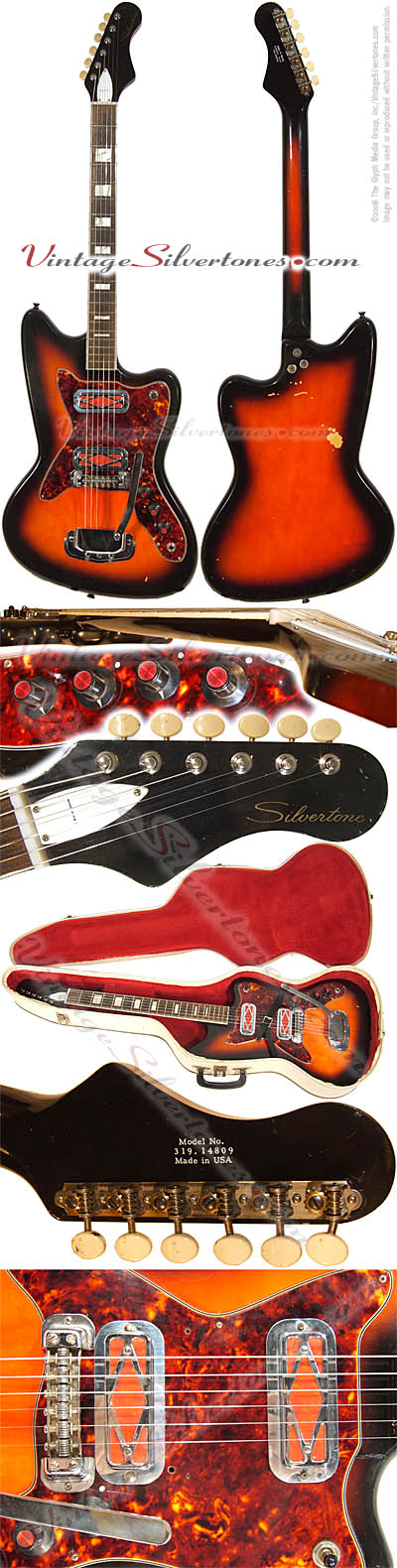 Silvertone - Harmony-made solid body, 2 pickup electric guitar in sunburst with red prickups for Christmas 1967, made in Chicago IL USA