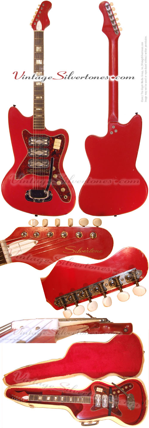 Silvertone - Harmony-made solid body, 3 pickup electric guitar in red, made in Chicago IL USA
