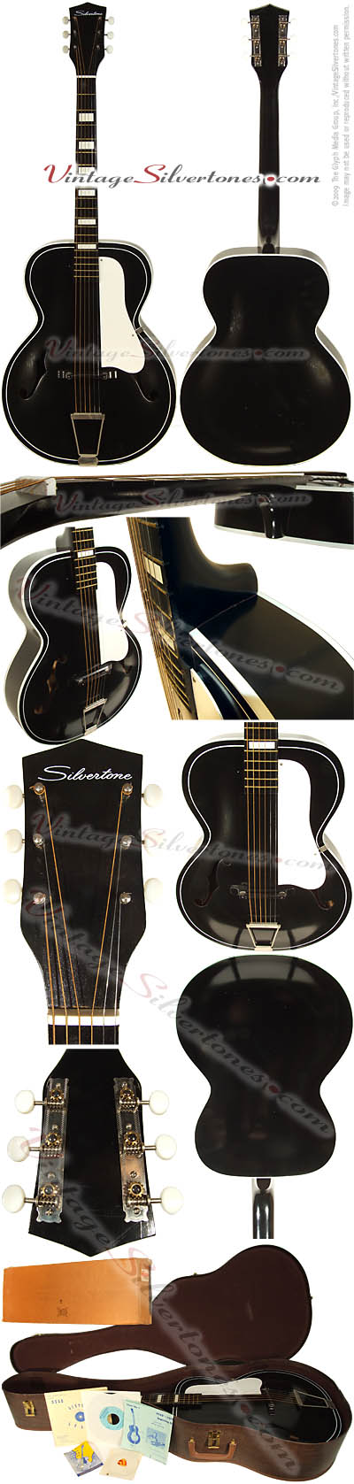 Silvertone 658 - acoustic black circa 1965 - NOS new old stock includes original case, paperwork, and shipping box from Sears