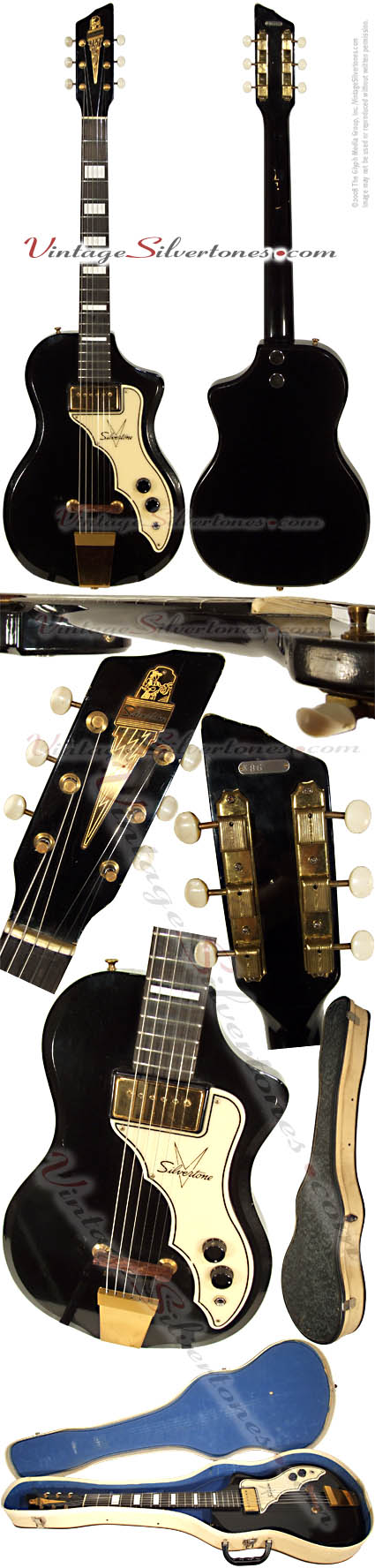 Silvertone Artist electric guitar with one single coil pickup in black with all gold hardware and original case made by Supro in 1958  Chicago IL