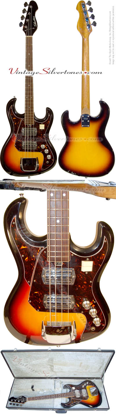Silvertone 1490 bass - solid body, 2pickups, sunburst, made in Japan by Teisco for Silvertone-Sears in 1969