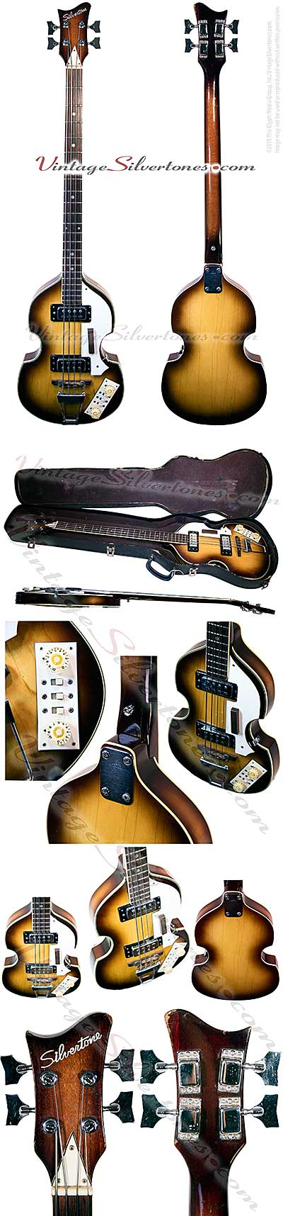 Silvertone bass - Beatles violin shaped, 2 pickups, sunburst finish, made in Japan circa 1966