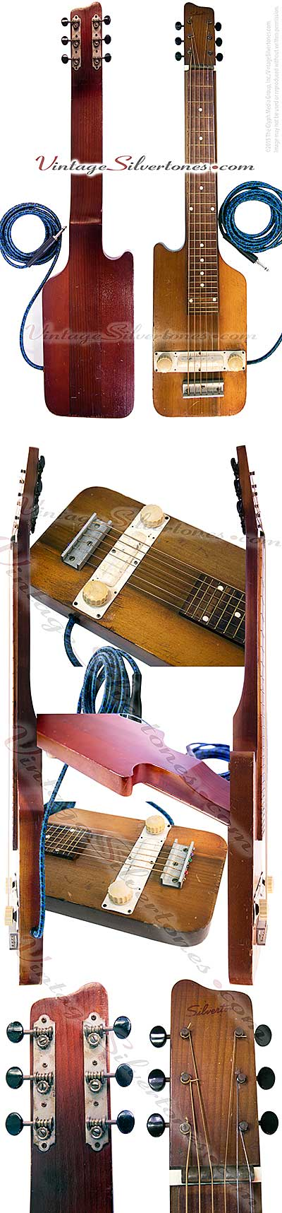 Silvertone lap steel - danelectro - 1 pickup, natural cherry finish hardwood solid body electric lap steel guitar made in Neptune, NJ USA 1953