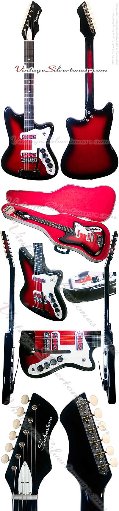 Silvertone -Harmony-made - 1479 solid body electric guitar with 1750 whammy bar double cutaway, redburst, 2 red pickups made 1967
