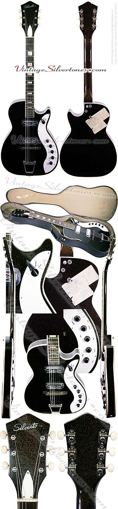 Silvertone 1423 - Harmony Jupiter 2 DeArmond pickups, black sparkle finish, made in Chicago circa 1962