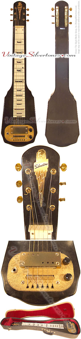 Silvertone lap steel model 1312 with original case - 1 pickup black/brown finish, gold hardware circa 1961
