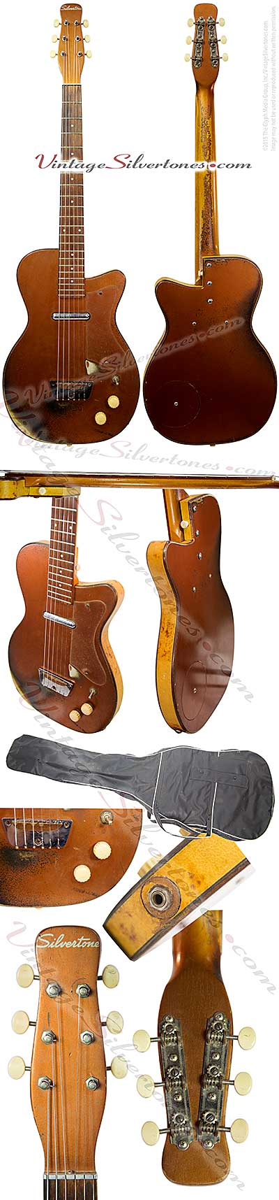 Silvertone 1321 made by Danelectro U1, one pickup, electric guitar, semi-hollow body, bronze body with white tolex binding, masonite body, lipstick pickup, made in 1956