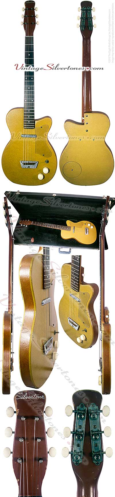 Silvertone 1357 made by Danelectro U1, one pickup, electric guitar, semi-hollow body, ginger vinyl finish, tan vinyl binding, masonite body, lipstick pickup, made in 1956