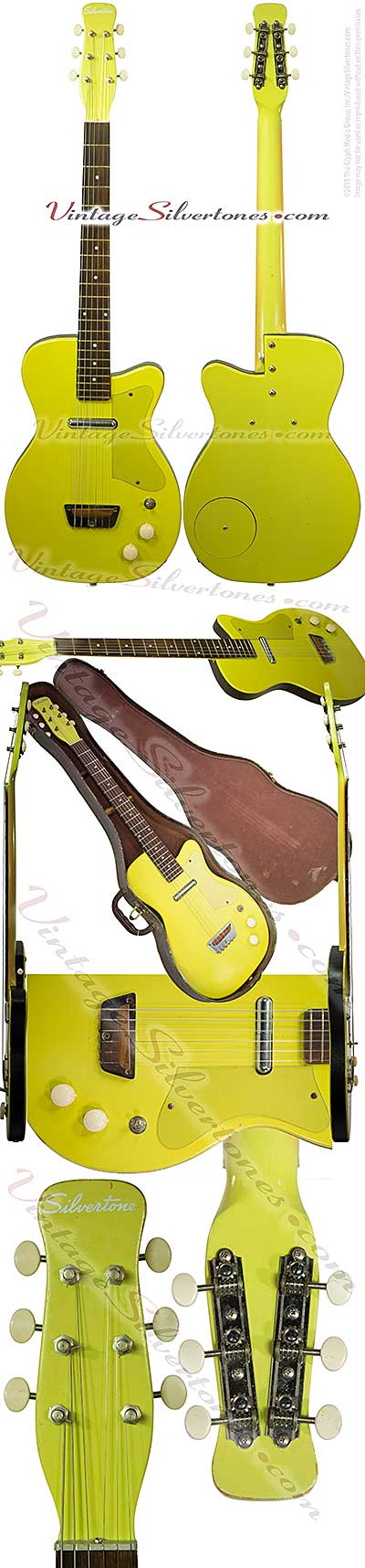 Silvertone 1358 made by Danelectro U1, one pickup, electric guitar, semi-hollow body, yellow finish black vinyl binding, masonite body, lipstick pickup, made in 1955